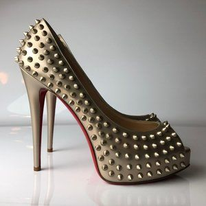 Christian Louboutin Vendome Spikes Bronze Heels 40